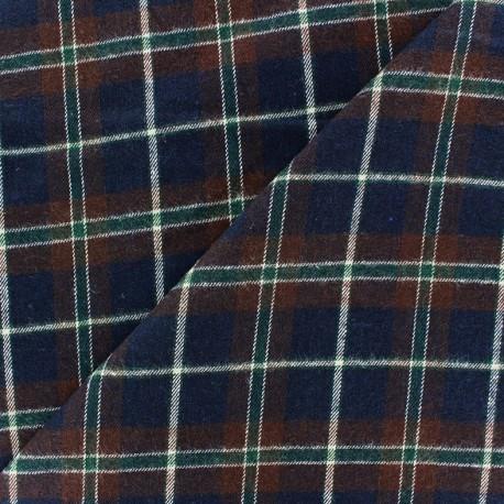 Tissu Coton gratté Tartan marron/ marine x10cm