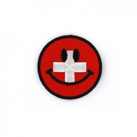 Embroidered iron on patch  Smiley  - Swiss