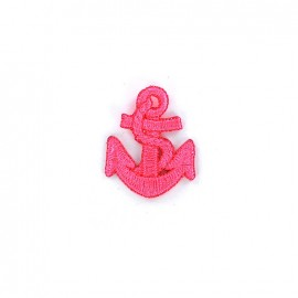 Embroidered iron on patch Ancre - fluo pink