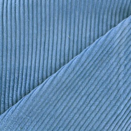 Thick ribbed velvet fabric - bleuet x 10cm