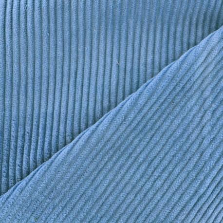 Tissu velours grosses côtes bleuet x10cm