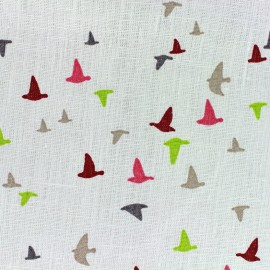 Tissu lin Etourneaux - blanc/corail x 10cm