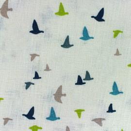 Tissu lin Etourneaux - blanc/bleu x 10cm