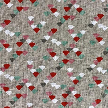 Linen Fabric Etourneaux - celadon/red x 10cm