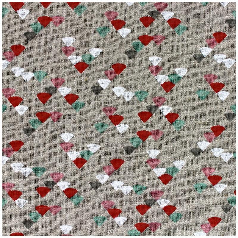 tissu lin triangle c ladon rouge x 10cm ma petite mercerie. Black Bedroom Furniture Sets. Home Design Ideas