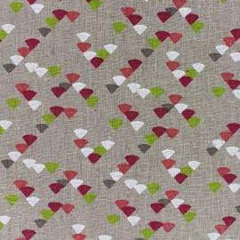 Tissu lin Triangle - fuchsia/anis x 10cm