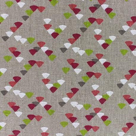 Linen Fabric Etourneaux - fuchsia/anise x 10cm