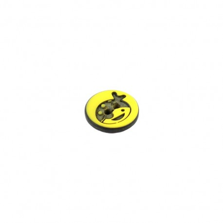 Polyester button rond Tête de Pirate - yellow