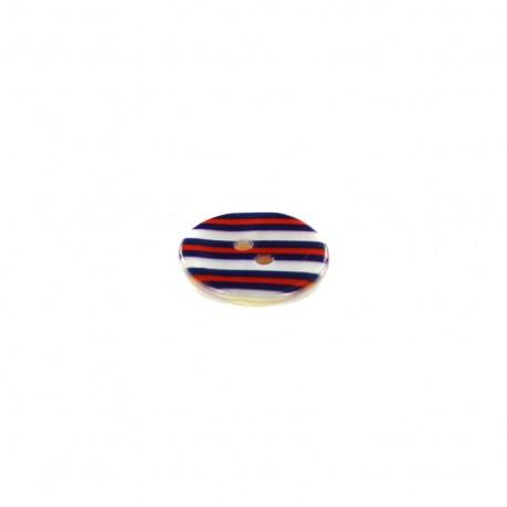 Polyester button Aspect nacré rayé - blue/red