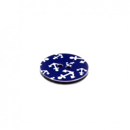 Bouton polyester Rond imprimé ancre - marine