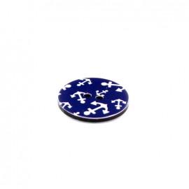 Polyester button Rond imprimé ancre - navy