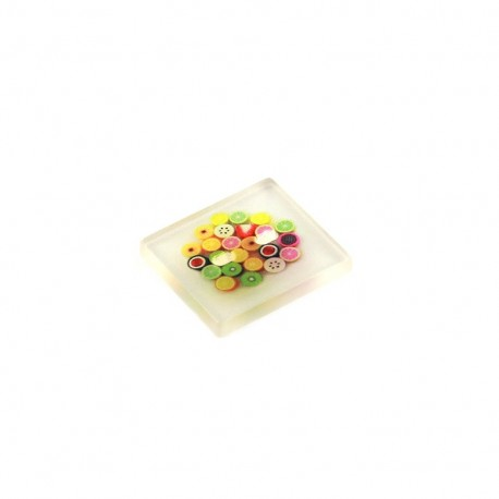 Polyester button rectangulaire translucide - fruits
