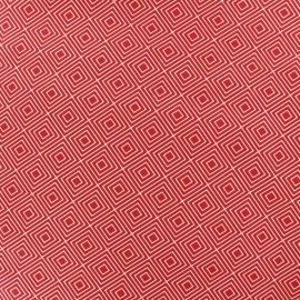 Tissu coton Poppy Square - blanc/rouge x 10cm
