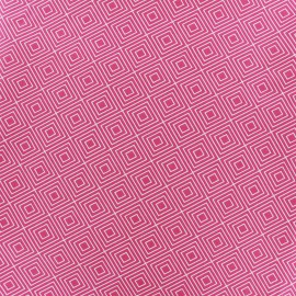 Tissu coton Poppy Square - blanc/fuchsia x 10cm