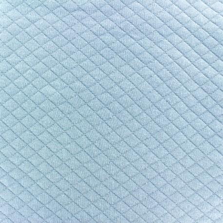 Tissu jersey matelassé losanges 10/20 - bleu ciel x 10cm