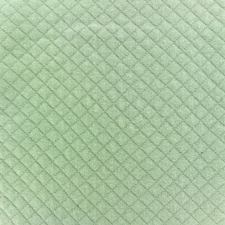 Quilted jersey fabric Diamonds 10/20 - jade green x 10cm
