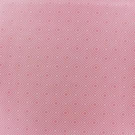 Tissu coton Poppy Square - blanc/rose clair x 10cm