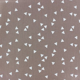 Poppy cotton Fabric - taupe grey white Triangle x 10cm