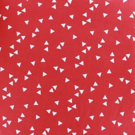 Poppy cotton Fabric - red white Triangle x 10cm