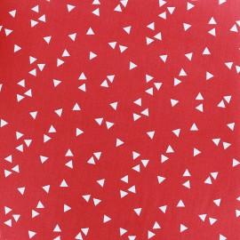 Tissu coton Poppy Triangle - blanc/rouge x 10cm