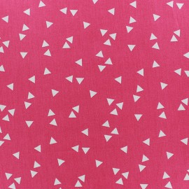 Tissu coton Poppy Triangle - blanc/fuchsia x 10cm