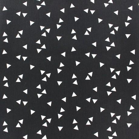 Tissu coton Poppy Triangle - blanc/noir x 10cm