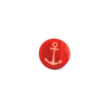 Bouton polyester Aspect nacré imprimé ancre - rouge
