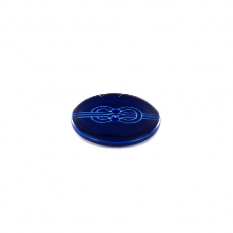 Polyester button Rond imprimé noeud marin - navy
