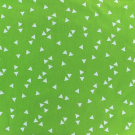 Poppy cotton Fabric - Light green white Triangle x 10cm