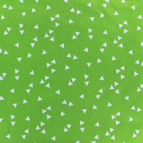 Tissu coton Poppy Triangle - blanc/vert clair x 10cm