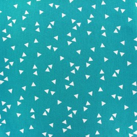Poppy cotton Fabric - Azzure blue white Triangle x 10cm