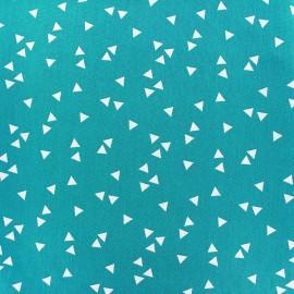 Tissu coton Poppy Triangle - blanc/bleu azur x 10cm