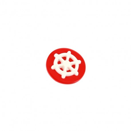 Bouton polyester rond Relief gouvernail blanc - rouge