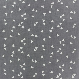 Tissu coton Poppy Triangle - blanc/gris x 10cm