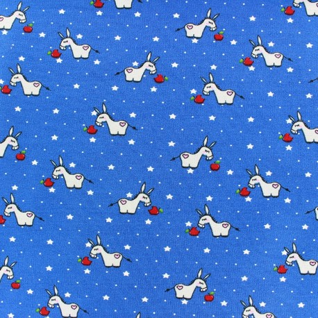 Poppy jersey fabric Donkey Starlet - blue x 10cm