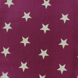Poppy cotton Fabric - Purple Big white star x 10cm