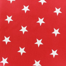 Poppy cotton Fabric - red Big white star x 10cm