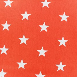 Poppy cotton Fabric - orange Big white star x 10cm