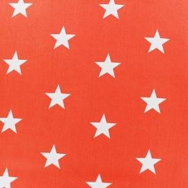 Tissu coton Grandes Etoiles - orange x 10cm