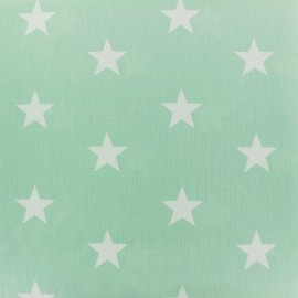 Tissu coton Grandes Etoiles - vert jade x 10cm
