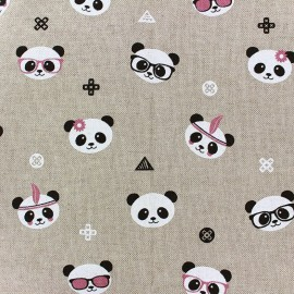 Cotton Canvas Fabric Trendy Panda x 32cm