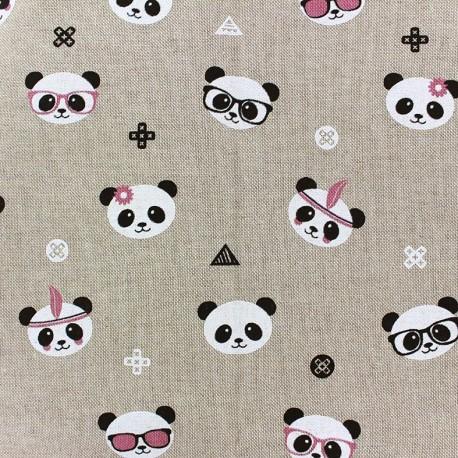 Cotton Canvas Fabric Trendy Panda x 32cm