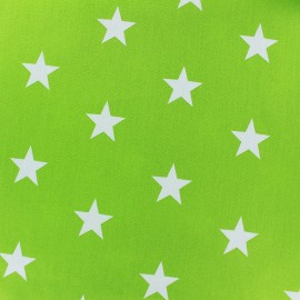 Poppy cotton Fabric - lime green Big white star x 10cm
