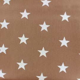 Poppy cotton Fabric - Taupe beige Big white star x 10cm