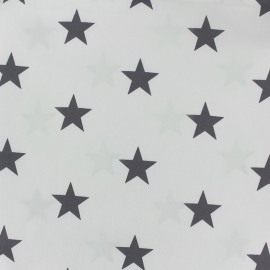 Poppy cotton Fabric - light grey/white Big star x 10cm