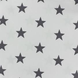 Tissu coton Grandes Etoiles - gris clair/blanc x 10cm