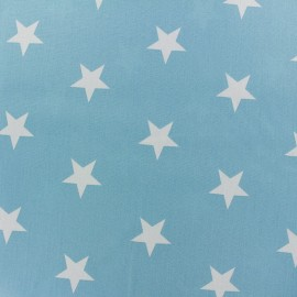 Poppy cotton Fabric - Light blue Big white star x 10cm