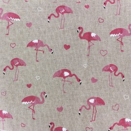 Tissu toile coton - Pink Flamingo x 20cm