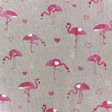 Cotton Canvas Fabric - Pink Flamingo x 20cm
