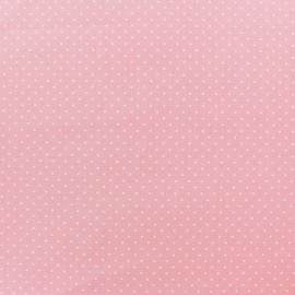 Tissu coton mini pois - blanc/rose clair x 10cm